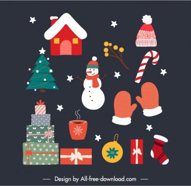 christmas design elements colorful flat classic symbols sketch