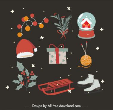 christmas design elements colorful symbols dark vintage