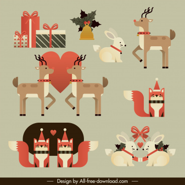christmas design elements cute classic symbols