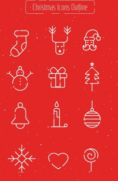 christmas design elements flat symbols outline