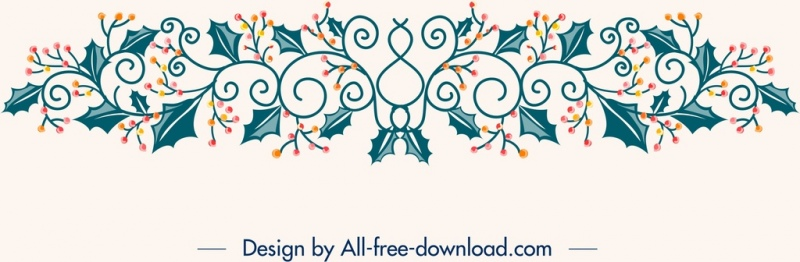 christmas design elements flowers icons classical symmetric decor