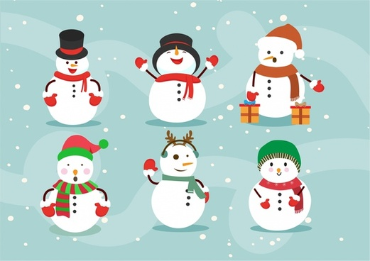 christmas design elements illustration with various posing snowman