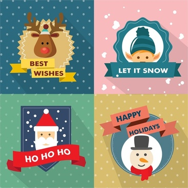 christmas design elements isolated with various symbols