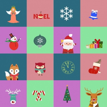christmas design elements multicolored flat design squares isolation