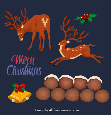 christmas design elements reindeer bells wood calligrphy sketch