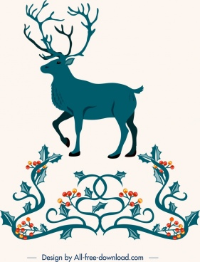 christmas design elements reindeer flower frame icons