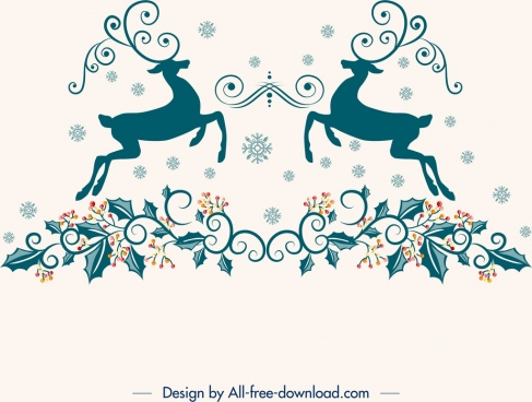 christmas design elements reindeer flowers icons classical symmetry