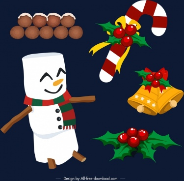 christmas design elements snowman decorated objects icons