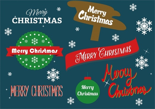 christmas design elements symbols and texts on dark background