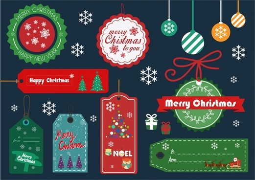 christmas design elements tags and baubles balls collection