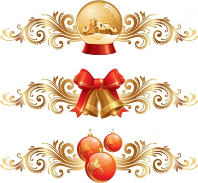 christmas design elements shiny bauble ball bell sketch