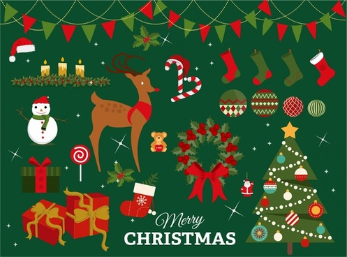 christmas design elements with colored illustration