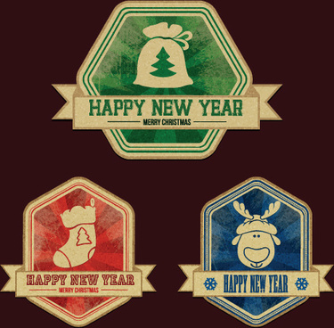 christmas discount badges with labels vector