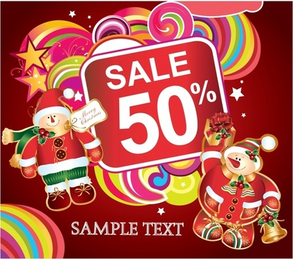 xmas sale template colorful snowman decor flat design