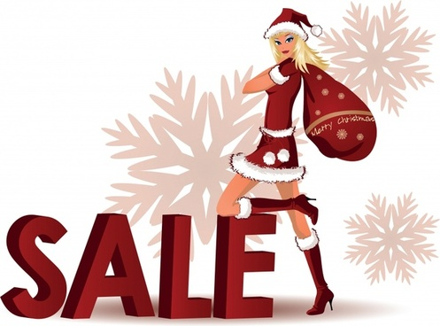christmas sale banner santa girl snowflakes text decor