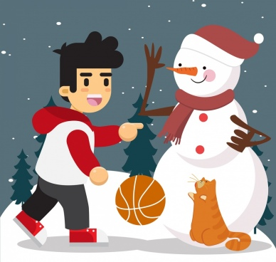 christmas drawing boy snowman cat icons colored design