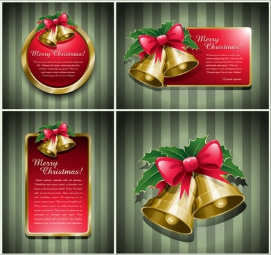 christmas card background templates shiny bells decor