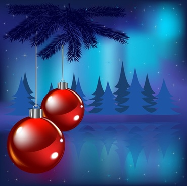 christmas background shiny baubles fir trees decor