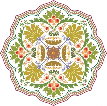 decorative pattern template colorful classical petals symmetry