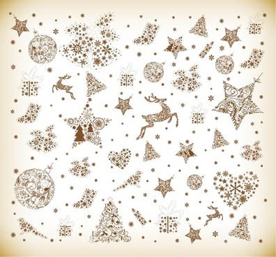 christmas element vector graphics set