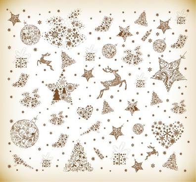 christmas element vector graphics set