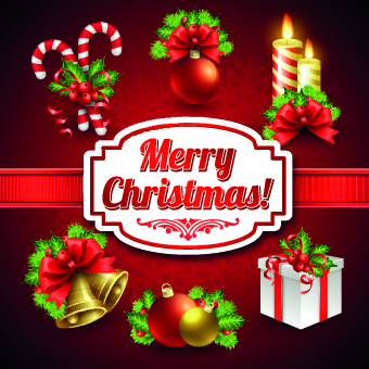 christmas elements and christmas background vector
