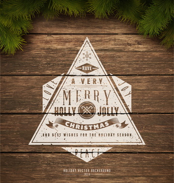 christmas elements and vintage wooden background vector