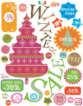 christmas elements labels vector set