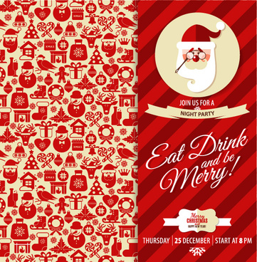 christmas elements pattern with santa background