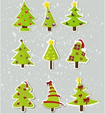 christmas elements stickers 04 vector