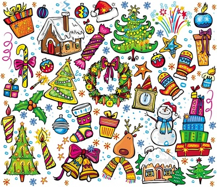 christmas design elements colorful classical decorative symbols