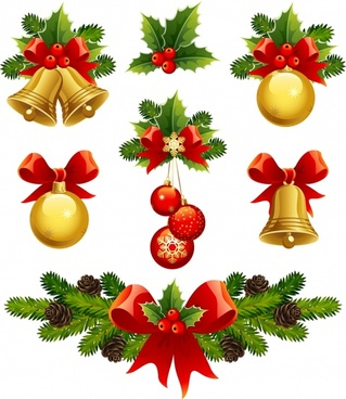 xmas design elements shiny colorful baubles emblems