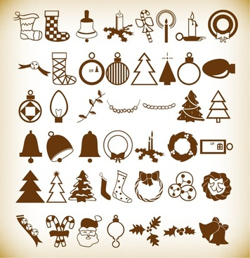 christmas elements vector illustration set