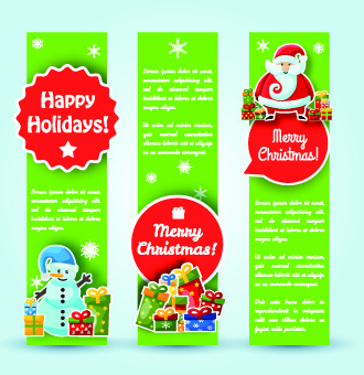 christmas elements with santa vector banner