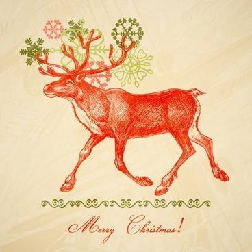christmas elk snowflakes vector