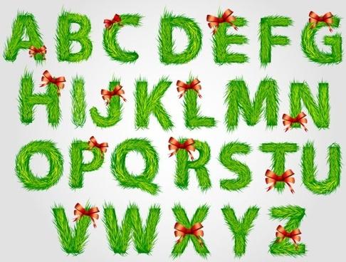 christmas english fonts 03 vector