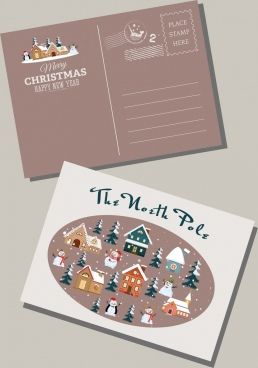 christmas envelop template winter design elements decor
