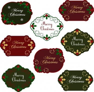christmas tags templates elegant symmetrical design