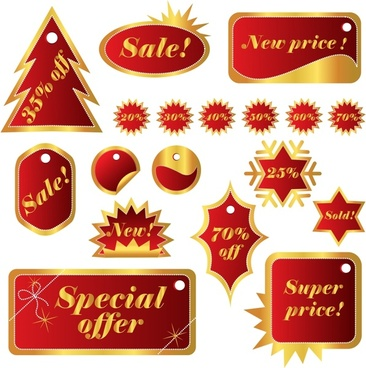 xmas sales tags templates red yellow shapes