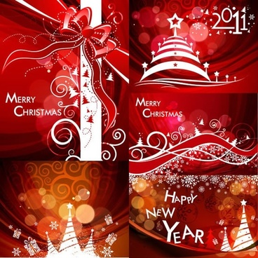 xmas new year banners dynamic bokeh red design