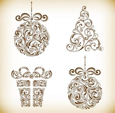 christmas floral tree ball and box vector illustration