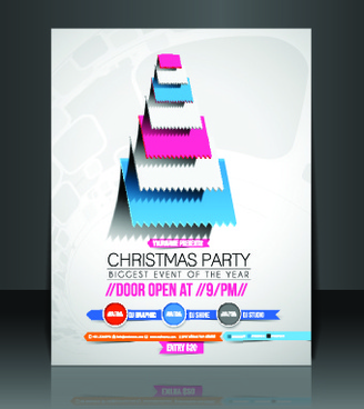 christmas flyer cover design vector set