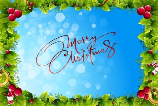 christmas frame on blue bokeh background vector graphic