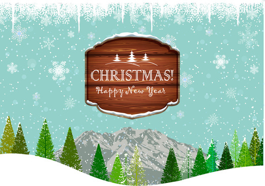 christmas frame on landscape background with tree and mountain