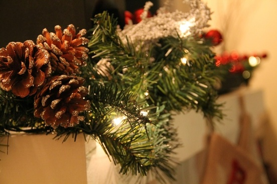 christmas garland with pine cones