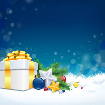 christmas gift and baubles vector background