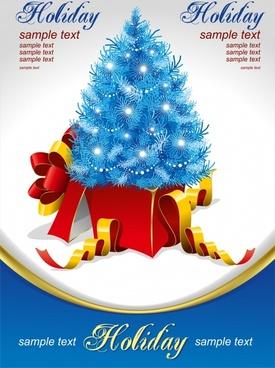 christmas banner template 3d sparkling fir tree present