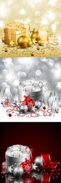 christmas gift box with ball vector
