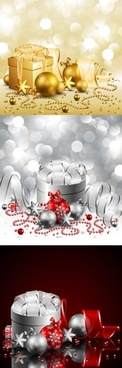 christmas background templates sparkling shiny 3d gifts decor