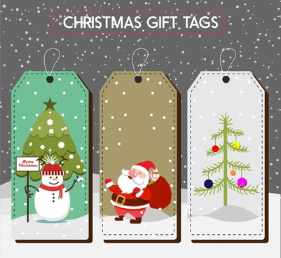 christmas gift tags collection colored symbols design
